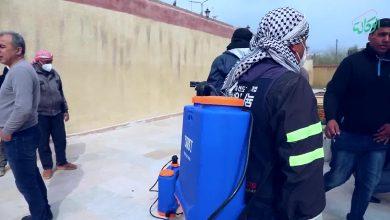 صورة جراءات احترازية وحملة تعقيم من قبل الإدارة الذاتية في شمال وشرق سوريا