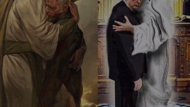 صورة المسيح يحضن ترامب و الحسين يحضن سليماني