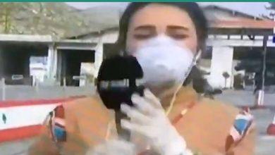 صورة مراسلة الجديد تسقط أثناء أداء رسالتها مباشرة على الهواء