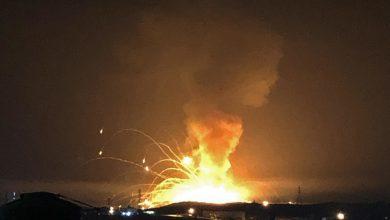 صورة انفجار بمستودع أسلحة في الأردن