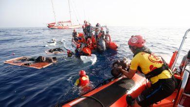 صورة إنقاذ مهاجرين غير نظاميين في مياه البحر المتوسط
